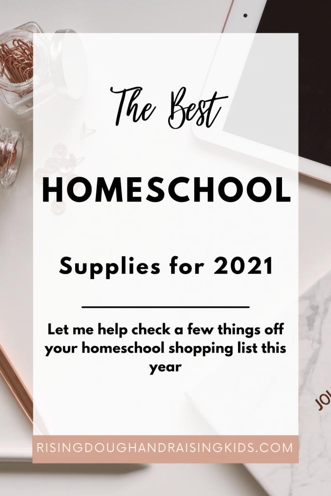 best homeschool supplies graphic with computer