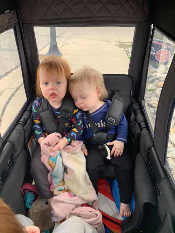 triplets in wonderfold wagon